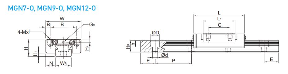 上银微型直线导轨MGN12-O规格尺寸