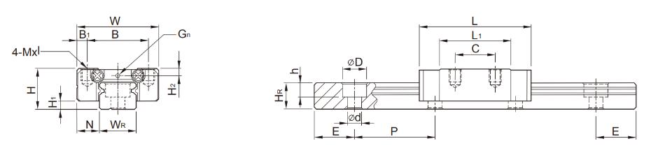 上银微型直线导轨MGN规格尺寸
