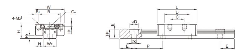 上银微型滑块MGN7C尺寸2